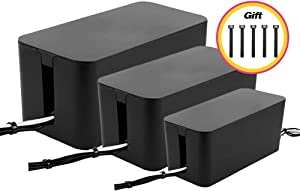 Cable Management Boxes Organizer,Large Storage Holder for Desk, TV, Computer, USB Hub, System to Cover and Hide & Power Strips & Cords [Set of Three] (Black)