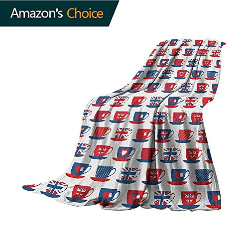 Tea Party Weighted Blanket for Kids,Great Britain Themed Teacup Forms Patterned Union Jack Hearts Flags Microfiber All Season Blanket for Bed or Couch Multicolor,70