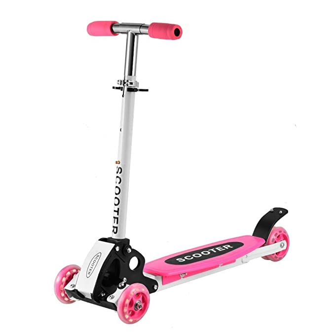 cooshional Patinete Scooter 4 Ruedas Plegable Altura Adjustable para Niños Rosa