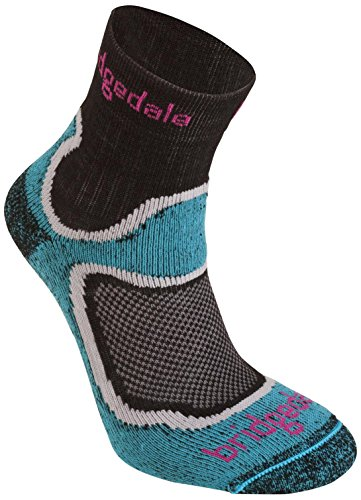 Bridgedale Women's Coolfusion Run Speed Trail Socks, Turquoise, Medium (Bridgedale Comfort Trail Sock)