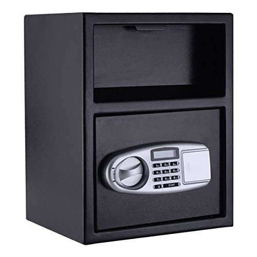 Digital Drop Depository Safe - Giantex Digital Safe Box Depository Drop Deposit Front Load Cash Vault Lock Home Jewelry