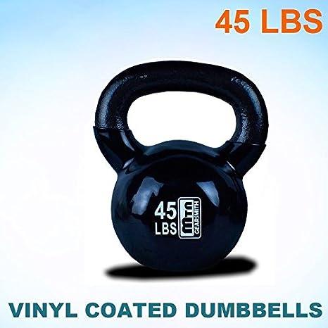 Nuevo 45 KG pesa rusa de hierro fundido pesas rusas peso mancuernas (con revestimiento de vinilo: Amazon.es: Deportes y aire libre