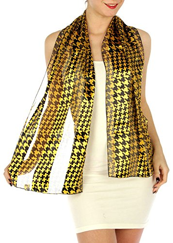 Women's Satin Striped Lightweight Spring/Summer/Fall Abstract Shapes Printed Scarf (Black/Gold)