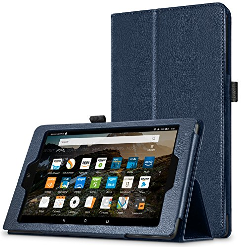 All-New HD 8 Case, Hi-tech wireless - Premium Leather Folio Folding Stand Cover Case for HD 8 Tablet with Alexa (7th Gen, 2017 Release) [with Auto Wake / Sleep Function] – Dark Blue