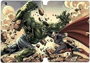 Cubierta de cuero y caja de la PC funda / soporte para funda de Apple iPad Mini 1,2,3 funda Con Magnetic reposo automático Función de despertador DIY por Hulk Vs Superman U7X3Ay9E5Fe