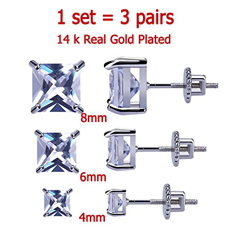 3 Pairs Plain 4-8 mm 14K Gold Plated HIP HOP Jewelry Iced Out Square Stud Earrings With Screw Back Paved With Simulated Diamond