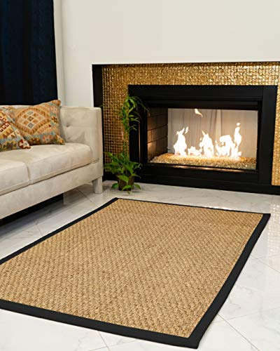 NaturalAreaRugs Lancaster Area Rug Natural Seagrass Hand-Crafted Black Wide Canvas Border, 5' x 8'