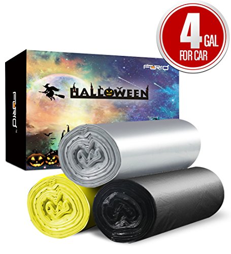 Small Trash Bags, 4 Gallon Garbage Bags Car Garbage Bags, Trash Can Liners for Car Garbage Collection with Christmas Halloween Party Thanksgiving Days Happy New Year Theme Decoration (Day After Halloween Christmas)