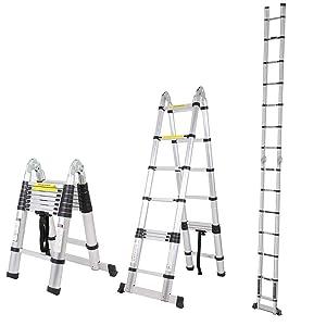 Soges 16.5 FT Telescoping Ladder Extension Ladder Aluminum Multi-Purpose A-Frame Folding Telescopic Ladder, 330 lbs Capacity, EN131 Standard, KS-JF-UP500D-2