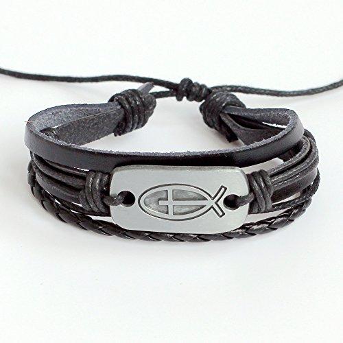 (Men's leather bracelet Women's leather bracelet Jesus fish bracelet Charm bracelet Cross bracelet Braided leather bracelet Woven leather bracelet Christian bracelet Religion bracelet)