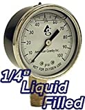 WELL PUMP WATER PRESSURE GAUGE LIQUID FILLED 0-100 psi