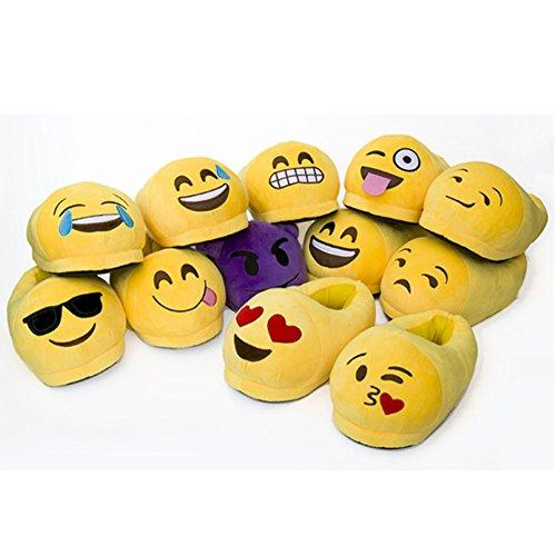 Slipper doux Hiver peluche Household Pantoufles en Femmes Chaud Stuffed Indoor Shoes Hommes Peluche baiser Chaussons Emoji House et O8XwSgx4