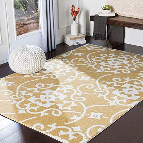(Marlow Contemporary Abstract 2' x 3' Rectangle Transitional 100% Polypropylene Wheat/Cream Area Rug)