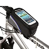 Bicycle Bag Bike Frame Front Tube Beam Bag Transparent PVC Cycling Pannier Pouch Basket for 5.5 inch Mobile Phone Screen touch Holder-Blue