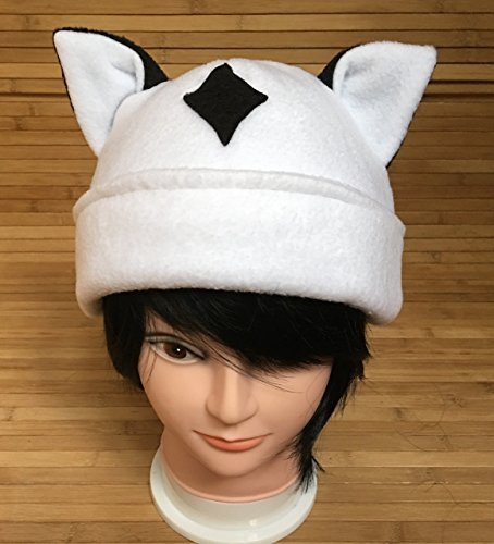 (Inuyasha Kirara Beanie, Inuyasha Anime inspired Fanart Hat, White Fleece Reversible)