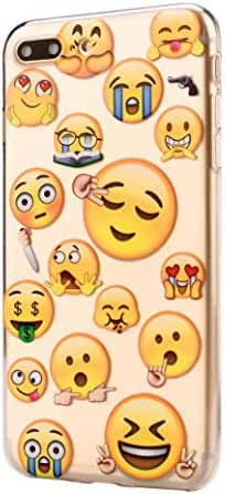 For IPhone 8 Plus 5.5Inch, Mchoice Funny Emoji Face Design Soft TPU Phone Back Case Cover for IPhone 8 Plus 5.5Inch