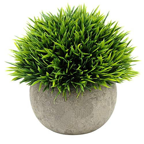 (Ogrmar Mini Plastic Artificial Plants Grass in Pot/Small Artificial Faux Greenery/Mini Plants Topiary Shrubs Fake Plants for Bathroom, House Decorations (Green Grass) )