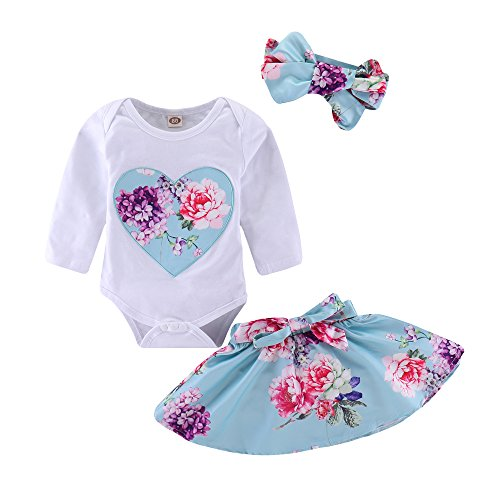 (3Pcs Newborn Infant Baby Toddler Girl Floral Heart Print Romper Tops + Tutu Skirt + Headband Outfit Clothes Set ...)