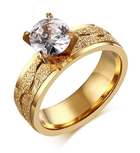 VNOX Womens Stainless Steel Cubic Zirconia Solitaire Ring for Engagement Wedding Band Promise,Gold,Size 7 ()
