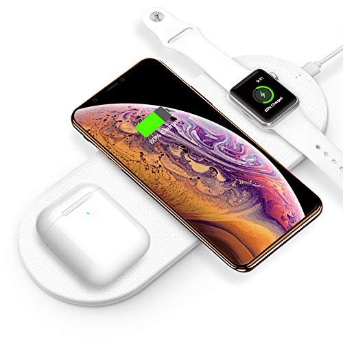 Funxim 3in1 Premium Leather Wireless Fast Charging Pad for Apple Watch Series 1/2/3/4 and iPhone XR, for iPhone Xs Max or Samsung Galaxy Note8/S9, Other Qi-Enabled Devices ()