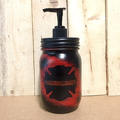 Rustic Red Firefighter Mason Jar Soap Dispenser with Black Soap Pump