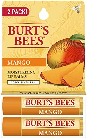 Burt's Bees 100% Natural Moisturizing Lip Balm, Mango, 2 Tubes in Blister Box
