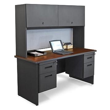 Double File Desk Credenza Including Flipper Door Cabinet