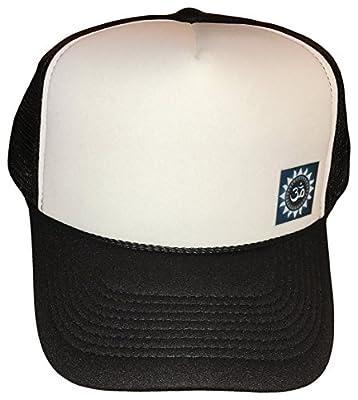 Sacred Om Symbol Side Logo Mesh Trucker Cap (One Size, Black/White)