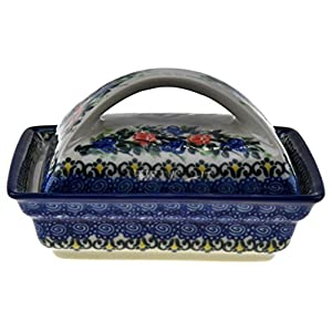 Ceramika Boleslawiecka Kalich Polish Handmade Decorated Flowers Butter Dish 5-3/4 x4-3/4 x3-1/2 Inch