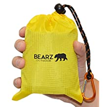 "BEARZ Outdoor Pocket Blanket 55""x60"" - Compact & Waterproof Picnic Blanket Great for the Beach, Travels, Hiking, Camping, Festivals - Durable, Sand Proof with Corner Pockets, and Loops with Bag"