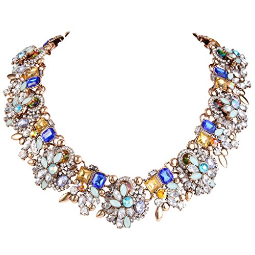 EVER FAITH Vintage Style Art Deco Statement Necklace Austrian Crystal Gold-Tone Multicolor from EVER FAITH