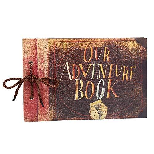 (Longpro Our Adventure Book Wedding Album DIY Scrapbook for Honeymoon Vacation Anniversary Wedding Family Graduation Travel (Retro Cover))