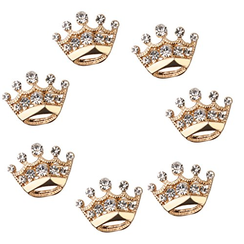 MonkeyJack 12pcs Lot Crystal Diamante Crown Brooch Pin Suit Accessories - Gold