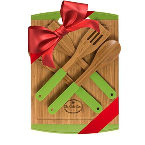 Bamboo Cutting Board Housewarming & Wedding Gift Set - With 4-Piece Kitchen & Cooking Utensils - Wooden Bamboo Spoons, Wooden Bamboo Spatula (Green)