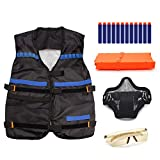 Freehawk® Tactical Vest Kit, Kids Elite Tactical Vest Kit For Nerf N-strike Elite Series include Vest, Mask, Glass, Clips, Darts