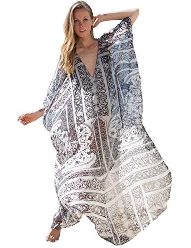 Long Kaftan - Boho Beach Wears Women Long Maxi Cover Ups Ethnic Print Kaftan Bikini Dress Oversized Robe Chiffon (258)