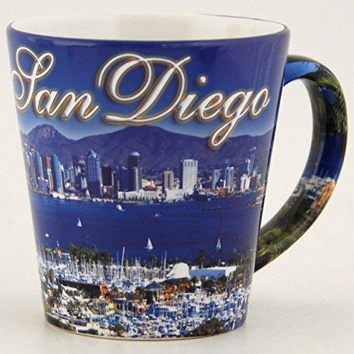 ((18 7/18) CM San Diego Coffee Mug Blue Skyline Harbor 15oz Mug SDMUGOLA With Copyrighted CA Bear Magnet)