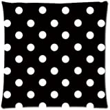 Polka Dot Black and White Custom Zippered Pillow Cushion Case Throw Pillow Covers 16x16(two sides) Fabric Cotton and Polyester
