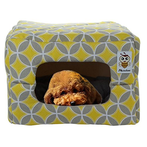 Nunubee Square Canvas Animal Pet Beds Soft Pet Dog Bed Kennel Triangle Dog Bed Mats Animal Beds Dog Kennel Pet Nest Cat Pad Bed Yellow Small-14.4x14.4x10.4 Inch