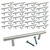 (25 Pack, L: 6 Inches CC: 4 Inches) Swiss Kelly Satin Nickel Kitchen Cabinet Bar Pull Drawer Handle