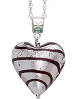 Genuine Murano 20mm Black Heart Pendant with Sterling Silver Chain of Length 45.0cm G78X9w7PQI