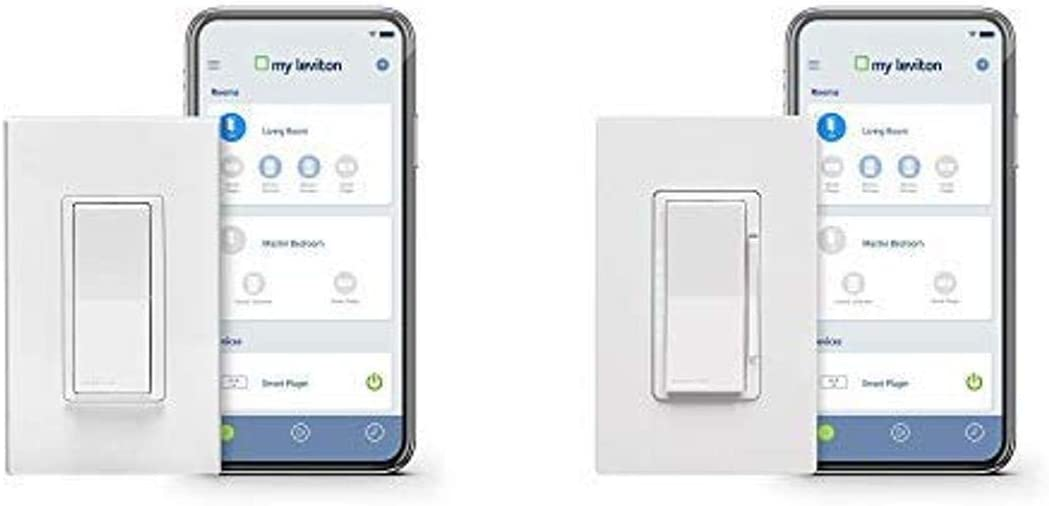 Leviton DW15S-1BZ Decora Smart Wi-Fi 15A Universal LED/Incandescent Switch, Works with Amazon Alexa, No Hub Required, White AND Decora Smart LED Dimmer, Works with Alexa, Google Assistant and Nest