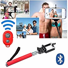 [Selfie Stick] with Bluetooth Remote for [iPhone 6] iPhone 6 Plus, 5S, 5C, 5, 4s, 4 Selfy Pole Pod Self Portrait Monopod for iPhone, Android, iPod, Arm Extender Rod comes with Cell Phone Tripod Adapter Mount, Also for Samsung Galaxy S6 S5 S4 S3 S2 Note 2 - Davoice® (Red)