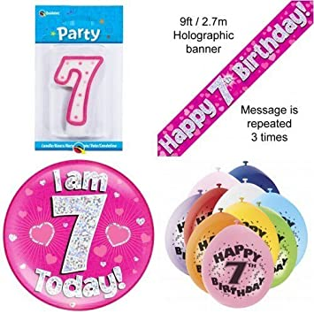 7th Birthday Party Set Age 7 Girls Banner Balloons Candle Badge