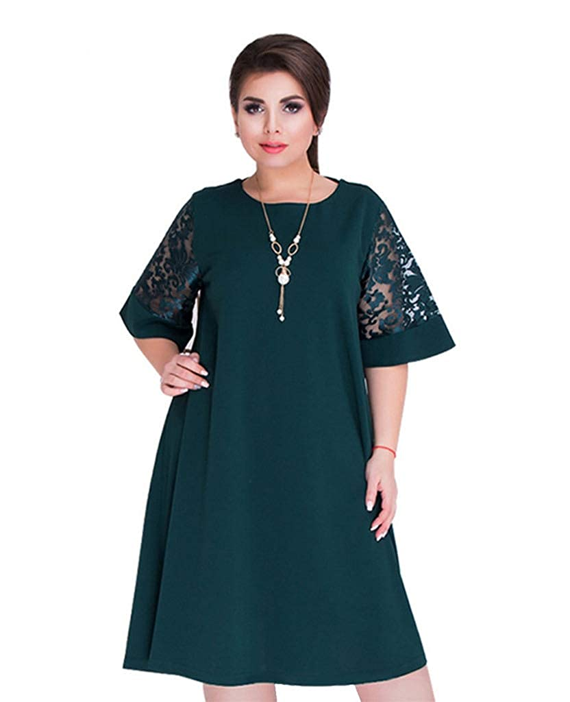 78ad4f08cd0 Buy-Box Women s Round Neck Short Lace Sleeves Plus Size Large Pendulum Dress