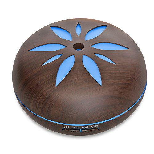 550ML Wood Grain Aromatherapy Essential Oil Diffuser Adjustable Mist Aroma Humidifier with 4 Timer Setting Waterless Auto Shut-off and 7 Color LED Lights Changing for Office Home Baby Yoga Spa