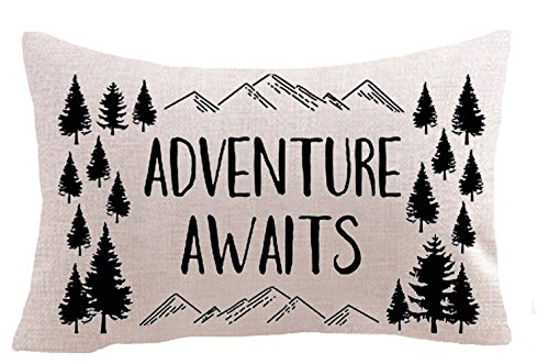 - Nordic Adventure Awaits Mountain Pine Trees Cotton Linen Square Throw Waist Pillow Case Decorative Cushion Cover Pillowcase Sofa Lumbar 12
