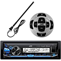 JVC KD-X33MBS In-Dash Marine Boat Yacht Bluetooth Radio USB Stereo Receiver Player Bundle Combo