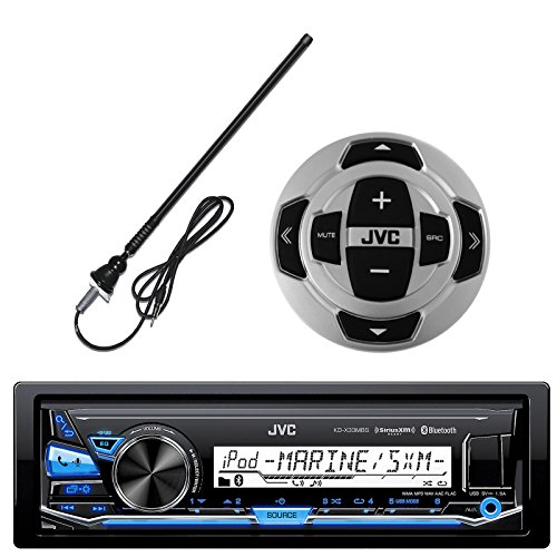 JVC KD-X33MBS In-Dash Marine Boat Yacht Bluetooth Radio USB Stereo Receiver Player Bundle (Marine Wired Remote)
