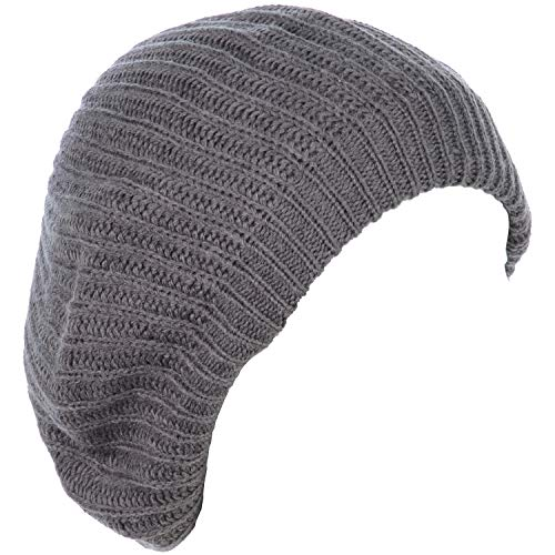 - BYOS Ladies Winter Solid Chic Slouchy Ribbed Crochet Knit Beret Beanie Hat W/WO Flower Adornment, Soft Touch (Gray)